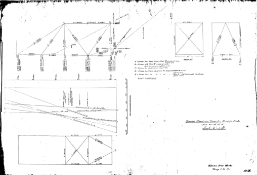 "A ""strain sheet"" for a truss design for the #3 dredge dated 20 February 1889. Using a combination of graphical and analytical techniques, the stresses and displacements in the truss are computed."