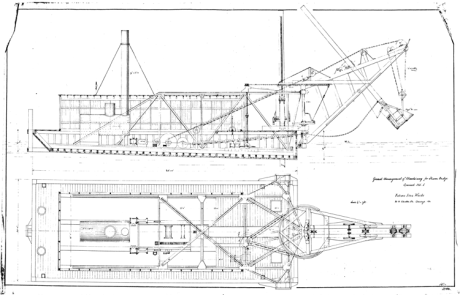 General Arrangement of Machinery for Steam Dredge #1 (Vulcan's naming/numbering system wasn't very imaginative, but it got the job done.) The dipper (bucket) at the right swung from the boom that came off of the bow of the dredge, filling itself up with the lake, river or canal bottom soil as it swung.