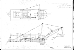 """No. 4 Boom Dredge, with a full turntable for the boom. Made for T.H. Watson, Minerva, OH. Note the spud at the aft (left end) of the dredge is """"on a batter,"""" i.e., angled, to provide better resistance to movement during dredging."""