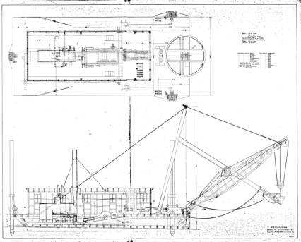 No. 3 Boom Dredge for W.M. Johnston & Co., 10 May 1904. The boat was 65' long and 28' wide. Both the main and the swinging engine were powered by a locomotive boiler. The boom was 45' long and the dipper had a capacity of 1 1/4 cubic yards.
