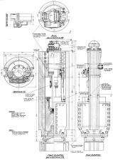 """Above: the 16M hammer, James N. Warrington's concept of a """"new Vulcan hammer."""" This hammer incorporated a number of innovations: """"16M"""" meant a 16,000 lb. ram, in this case with a 30"""" stroke. This type of configuration was more suitable for large concrete piles; the hammer is possible intended for Raymond. (It's interesting to note that the justification of short strokes for hammers, i.e. minimising tension stresses and cracking, would be illuminated by D.V. Isaac's pioneering work on the wave equation, taking place about the same time as this design.) The larger hammer represented another move towards higher energy products after the abortive """"00"""" hammer (although Raymond stuck with the traditional Warrington-Vulcan design right up to the 8/0 hammer, with its 25,000 lb. ram.) The hammer is completely keyless. Vulcan used tapered keys for its rams (to connect the piston and ram) and columns (to hold the cylinder and base together.) Keys were reliable but a maintenance item. The closed type differential hammers followed through on this, but Vulcan did not begin to eliminate keys on its other hammers until the 1960's. An Acme type thread was used in place of the stepped end of the piston. Unfortunately this never was produced. An anvil-type interface with the driving accessory was incorporated. This passed out of the product line with the closed-type hammers. The ram is enclosed, but not the rest of the hammer."""