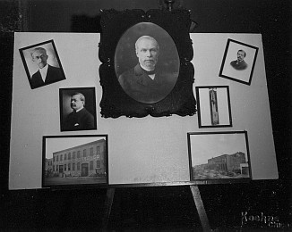 The company history display, which was placed in front of the head table. In the centre top is Henry Warrington, the company's founder. Other photos are: Upper left: James N. Warrington Centre left: William H. Warrington Lower left: Milwaukee Avenue plant Upper right: George Warrington Centre right: Skinner Hammer Lower right: The Bell (Irving) Avenue Plant