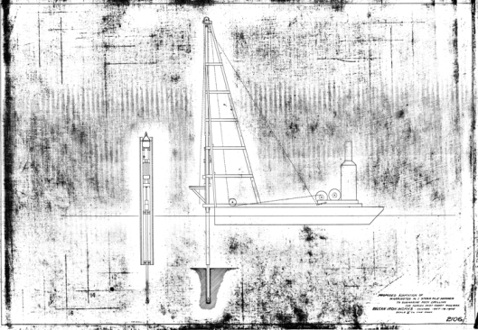 """""""Busting rocks"""" wasn't just for convicts on the chain gang. Although demolition work is generally associated with DGH series hammers, the classic Warrington-Vulcan hammer was used for this application every now and then. This drawing shows more elaborate arrangement than some others, since the demolition was to be performed below water. Such applications show both the versatility of the equipment and the ingenuity of both Vulcan and its contractors in applying it the work."""