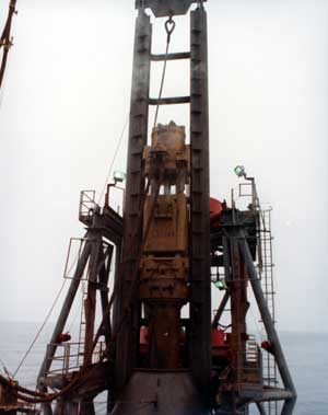 """Vulcan 3100 hammer installing piles for Exxon's Hondo platform off of Santa Barbara, California. In 1752 Bishop Erich Pontippidan noted that """"The North Sea has a curious property. In addition to its salinity it also possesses oiliness. It is likely that here or there the sea, just as the earth, ejects oil flows, or streams of petroleum, naptha, sulphur, coal tar and other bituminous and oily juices."""" Similar things were noted off of California, without the offshore drilling that is supposed to be the sole cause of this."""