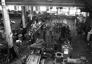 "An inside view of the plant. Some of the machinery continued to do service until Cari directed the liquidation at auction of virtually all of Vulcan's plant machinery in 1998. Even with a regular product line, Vulcan's production remained very much a ""job shop"" affair, both here and in Chattanooga."
