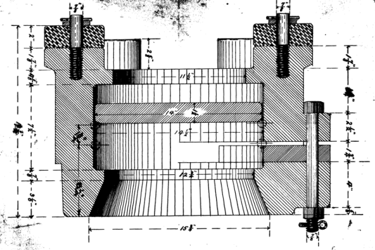A section drawing of the #1 McDermid Base, from 1891. It also shows the lower rubber bumpers attached to the top of the base, along with the McDermid door and the bolt holding it in place.