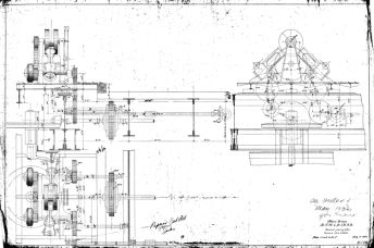 General gearing plan for the Alton Bridge, St. C.M. & St. L.B.R.R., dated 11 July 1893. A note shows that a gear for this bridge was on order in May 1930.