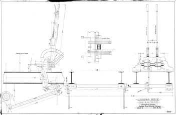 Operating levers for the Louisiana, MO bridge of the Chicago and Alton R.R., 18 October 1897. Since this bridge was built in 1873, this is probably a retrofit.