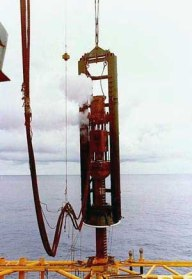 Vulcan 5100 hammer driving pipe pile in the Gulf of Mexico. This photo graced offshore literature in the late 1970's and again in the 1990's.