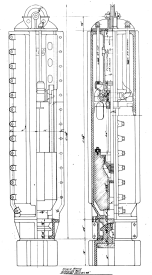 "The action returns to Chicago with this single-acting proposal (it had a differential-acting counterpart as well.) This model was a ""6M"" with a 6,000 lb. ram. The anvil is refined and the hammer is completely enclosed. Ultimately Vulcan opted for the differential-acting hammer. One advantage of the closed type hammer was underwater operation. For the most part Vulcan left this part of the market to MKT and ultimately the hydraulic impact hammers."