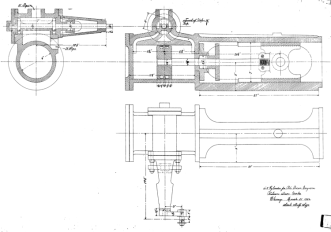 "Any pile driving rig needs a ""prime mover."" Many smaller ones used human or (more commonly) animal power. Vulcan built its reputation on steam driven equipment, and produced steam engines for some of its pile driving rigs. One of those is shown below. Note the rotary Corliss valve at the top of the drawing. This is the same type of valve that was used in the Warrington-Vulcan hammers and every other Vulcan hammer except for the #5, California series hammers, pile extractors and the Single-Compound hammer (the last two were valveless.)"