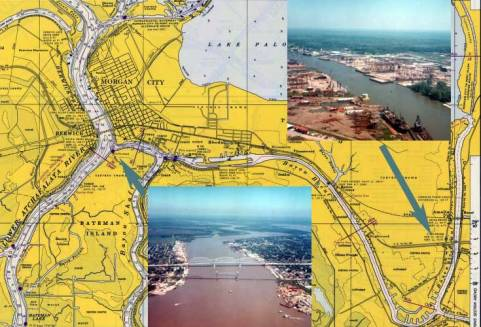 Much of the construction portion of the offshore oil industry in the Gulf was centred in Morgan City, LA. The upper right inset above shows platforms being built in yards along the Bayou Boeuf south of Amelia, LA. Most conventional platforms were prefabricated onshore. They were then floated down the bayou and past Morgan City (shown in the lower middle inset above) into the Atchafalaya River and then into the Gulf.