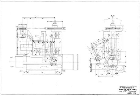 Not all drawings were for sold product. Below is a diagram for modifying a planer to make a machine that would cut the cam on the ram of a DGH-900 hammer, from 1958. Today operations like this would be programmed into CNC machinery, but at the time the skill and ingenuity of the tool and die maker were applied to the task.