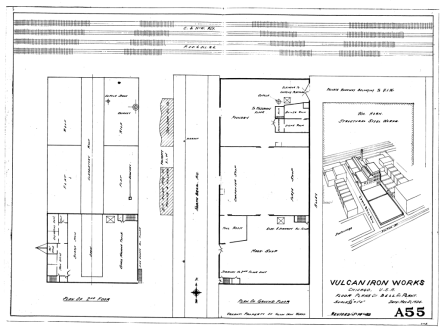 """A layout and a """"birds-eye"""" view of the plant, first drawn in 1924 and updated about twenty years later. It shows that the machine shop, and foundry and the offices are all in one building. Note the very small size of the offices, comparable to those in the West Palm Beach fabricating facility. Although it certainly was an improvement over the Clinton St. shop, the ability of such a small facility to manage the large output it did is, in retrospect, remarkable."""