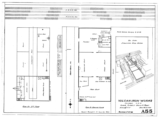 "A layout and a ""birds-eye"" view of the plant, first drawn in 1924 and updated about twenty years later. It shows that the machine shop, and foundry and the offices are all in one building. Note the very small size of the offices, comparable to those in the West Palm Beach fabricating facility. Although it certainly was an improvement over the Clinton St. shop, the ability of such a small facility to manage the large output it did is, in retrospect, remarkable."