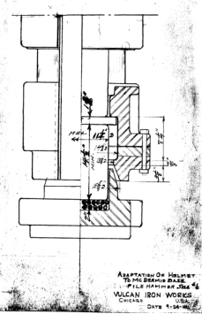 "The same diagram above in an earlier form, i.e., for a #1 Hammer dated 24 September 1941. Note that the diagram depicts the use of ""wire rope"" biscuits under the plug. These were fairly common when the diagram was drawn, but Vulcan soured on them during the offshore years."