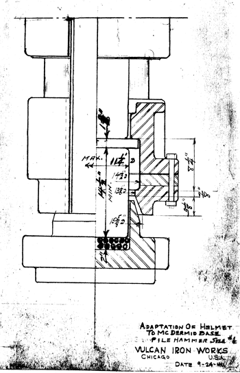 """The same diagram above in an earlier form, i.e., for a #1 Hammer dated 24 September 1941. Note that the diagram depicts the use of """"wire rope"""" biscuits under the plug. These were fairly common when the diagram was drawn, but Vulcan soured on them during the offshore years."""