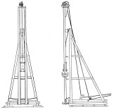 """Batter Leader Pile Driver: an early version of the """"moonbeam"""" system. The hammer swivels about its upper mast connection. The lower end of the leader is guided by (and secured to for fixing the angle) with a curved moonbeam. Vulcan produced moonbeam type systems until the 1970's, when the telescoping spotter overtook them."""