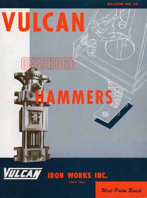 Vulcan's first offshore literature, issued in 1965. One of the exasperating things about the cover is its depiction of oil drilling. Except for driving conductor pile, Vulcan's product was used in platform construction, not drilling. Also, the 040 shown had column keys, quite a few of which went into the Gulf before the development of cables to hold the hammers together.