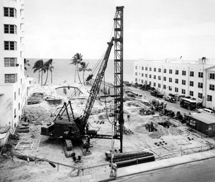 Nice job sites were a fringe benefit of the mandrel. Here it's being used in the installation of the foundation of an addition for the Cadillac Hotel in Miami Beach, FL. Today the Cadillac Hotel (a Marriott Courtyard hotel) is on the National Register of Historical Places. Guess that includes the foundation!