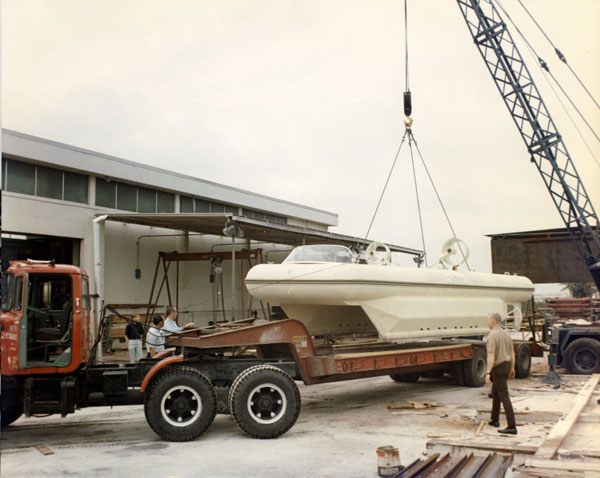 Loading out the Construction Assistance Vehicle. This underwater craft was one of the most interesting things the SPD built.