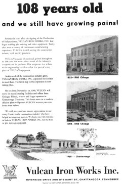 The deed is done: the announcement in the October 1960 issue of Contractors and Engineers. Other reasons the plant was located in Chattanooga were to put the company near a source of skilled labour (albeit one with a penchant to organise trade unions; Vulcan's bargaining unit was initiated in 1962, about eighteen months after the plant opened) and near a source of both iron and steel castings, mainly the Ross-Meehan foundry.