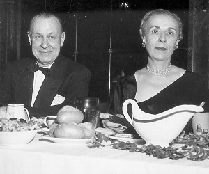 Chester and Myrtle Warrington (1893-1976) at the head table. Myrtle was active in the company in a variety of positions (Vice-President at the time of the centennial) up to the time of her death.