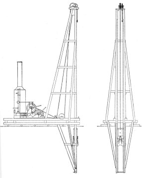 "Contractors' Pile Driver, Fitted with Rigid Extension Leaders. Useful when the piles were well below the rig or barge. The drop hammer shown uses the ""Casgrain"" style cap. The wood cushion block between the driving accessory and the hammer has a steel band around the top. Drop hammers and wood piles went together for many centuries. Although the wood itself had good hammer cushioning properties, the pile head was subject to brooming during driving. It was possible to install a metal band on the pile before driving, but getting it off could be a challenge. The Casgrain system obviated that by eliminating the band installation and replacement. It was the ancestor of the cushion pot that have graced most Vulcan air/steam hammers since."