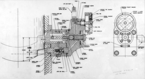 The carburetor for the LPG hammer. It took the place of the diesel fuel pump, and was mounted directly adjacent to the combustion chamber.