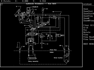 a screen shot from DesignCAD 4 for DOS, showing the hydraulic schematic for the Vulcan 2800 vibratory hammer. Given the limitations of DOS and the computers they ran on, the results that DesignCAD produced were amazing. Additionally DesignCAD did fine with just a keyboard, a mouse and a standard graphics card, obviating the need for additional hardware such as digitising pads.