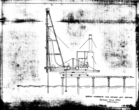 Drop Hammer and Jet Driver, off the end of a pier. A similar setup was used by the New Orleans contractor Dollut and Williams, but it looks a lot scarier there.