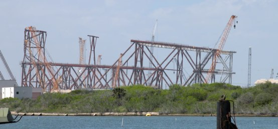 Conventional platforms are still an important constituent of offshore oil and gas production. Here's one being fabricated in Ingleside, Texas, in March 2012.