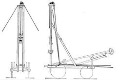 """Fence Post Driver #1. Designed to be mounted on an """"ordinary farm or mountain wagon,"""" It could be used for either new fence lines or repair work. Like the Township rig, they were designed for horse-power. The #1 driver ran the driver on the front of the wagon."""