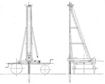 """Fence Post Driver #2. Designed to be mounted on an """"ordinary farm or mountain wagon,"""" It could be used for either new fence lines or repair work. Like the Township rig, they were designed for horse-power. The #2 ran the driver on the side (better for repair of existing fences.)"""