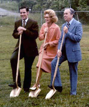 On 22 May 1979 ground was broken for the expansion of the Chattanooga facility. From left to right, Don Warrington, President and Chief Engineer; Vernell S. Warrington (1923-2000), Chairman of the Board; Eugene Logan, Chairman of the Industrial Revenue Board, who facilitated the financing of the plant expansion. The use of tax exempt IRB's--with low interest before rates went through the roof the following year--made payback a lot easier. Mrs. Warrington was Vulcan's last Chairman, and also was Secretary, from 1961 to 1996 and Executive Vice President from 1977 to 1978.