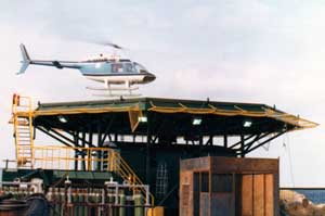 Helicopters were indispensable in offshore exploration, drilling, construction and production, especially as platforms went further and further offshore. Like everyone else offshore, Vulcan personnel spent time in helicopters, enduring mechanical problems (which are potentially disastrous in a helicopter) and violent weather.