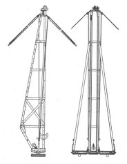 """Joe Heaver"" Pile Driver. A leader system designed primarily for railroad construction. Piling is to be driven in advance of the strack. It was designed for drop hammers ranging from 1.5-3 kips in weigth and the leaders could be from 30'-50' long. As the catalogue said, it was designed for use by ""horse-power,"" a reminder that the use of these animals for serious work is not as far in the past as one would like to think. Note the guy lines at the top, which were used to maintain the vertical position of the leaders. Also noted in the catalogue was the use of manila rope. Although not really appropriate today, manila rope was extensively used in pile drivers in the age of steam."