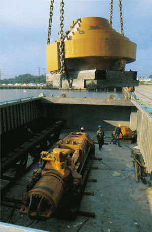 The Port of Palm Beach wasn't the only place where product was sent overseas from. This hammer package (note that the hammer, caps and leaders are all shipped separately) are being shipped using the LASH (Lighter Aboard SHip) system from the port of Savannah, GA. With this system, the cargo is secured to a barge, which in turn is placed into an ocean going vessel for the voyage.