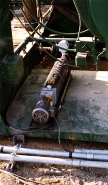 The Manzel type of lubricator, more common with the offshore hammers. This lubricator was a series of injectors (similar to fuel injectors on an automobile or truck) which were driven by a small electric motor. A steady stream of lubricant is injected into the line. Use of proper air or steam lubricant insures that the oil emulsifies with the flow and spreads throughout the cylinder and valving.