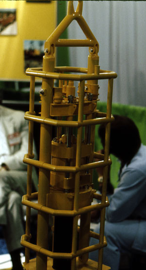 A model of the MRBS steam hammer in its guide cage, at the 1975 Offshore Technology Conference.