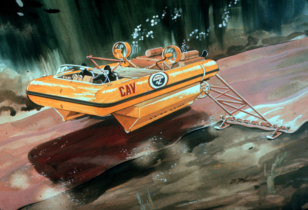 The CAV was tested by the Seebees at the Naval Civil Engineering Laboratory (NCEL) in Port Hueneme, CA. This is an artist's conception of what the CAV looked like in action.