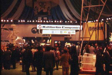 The centre of the Astrohall, the main exhibit building, 1974 Offshore Technology Conference.