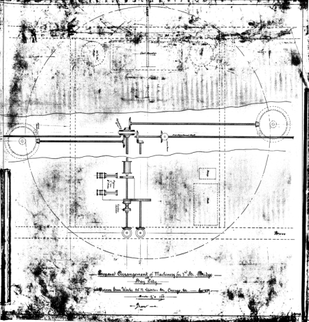 Proposed arrangement of machinery for the 3rd Street Bridge in Bay City, MI, dated September 1889. The swing bridge built collapsed 18 June 1976, cutting the city in half.