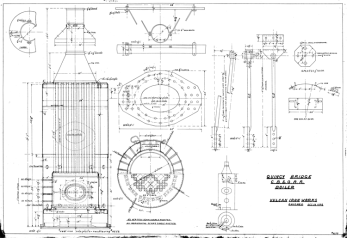 Boiler for the Quicy Bridge. This is an upright, fire tube boiler, as opposed to the water tube boiler or the horizontal, Scotch type boilers used with the offshore hammers. Note, at the centre of the drawing, is a riveted plate for the manhole; Vulcan's personnel made a good joke about this during their negotiations with the Chinese.