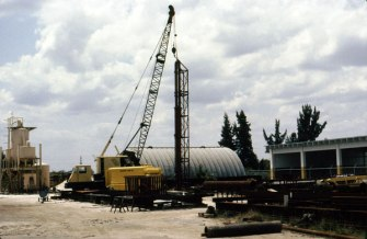 The yard during the testing of the Single-Compound hammer prototype in 1982.
