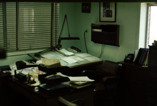 "When it was time to go ""back to the drawing board"" at the Special Products Division, this is where they went: part of the engineering section of the Division, July 1974."