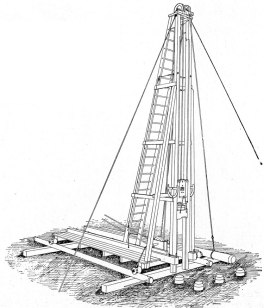 """Spool Roller Pile Driver. Until commercial cranes were developed to the point where they could be used to handle pile driving, rigs were almost always """"skid"""" rigs (as is the case with the rigs shown on this page.) One of the major drawbacks to skid rigs was mobility. The spool roller pile driver was an attempt to address this problem. The roller setup allowed both fore and aft and side to side movement of the rig. Also note the pile line and levelling protractors. This isometric view (one of the few found in Vulcan literature of the time) also clearly shows Casgrain's cap, and the fact that most of these rigs were constructed out of wood. The hammer rode in iron channel liners which were embedded into the timbers."""