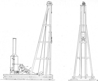 Standard Contractors Pile Driver: for drop hammers in the 1-3 kip range. Note the vertical steam boiler at the left which power the rig.