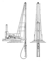 Swivelling Pile Driver, arranged with Telescope Leaders: An expansion of the rig above, it's adds what amounts to an elongated inboard extension to enable driving piles below the rig. Note that this drawing shows a steam hammer rather than a drop hammer, reflecting the change in Vulcan's business.