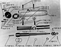 """A photographic """"exploded view"""" of the Vari-Cycle. It uses the """"old"""" Vulcan part numbering system, which was used until the early 1970's. Many parts still get ordered using that system."""